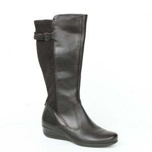 Ecco Abelone Buckle Wedge Riding Boots 38 US 7-7.5